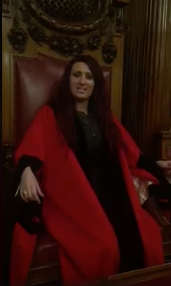 Deputy leader of Britain First, Jayda Fransen in the Lord Mayor's chair in Belfast City Hall Council chamber