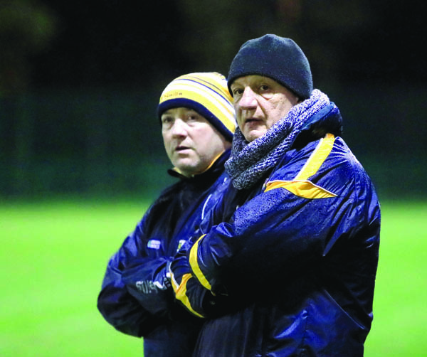 Antrim manager Terence 'Sambo' McNaughton, pictured along with selector Gary O'Kane during last Saturday night's Conor McGurk Cup win over Down, has questioned logic behind the GAA's decision to keep April as a 'club only' month when Antrim are set to play in the new Joe McDonagh Cup in May