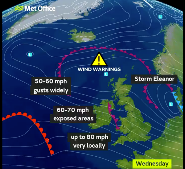 Weather warning in place as Storm Eleanor sweeps into region