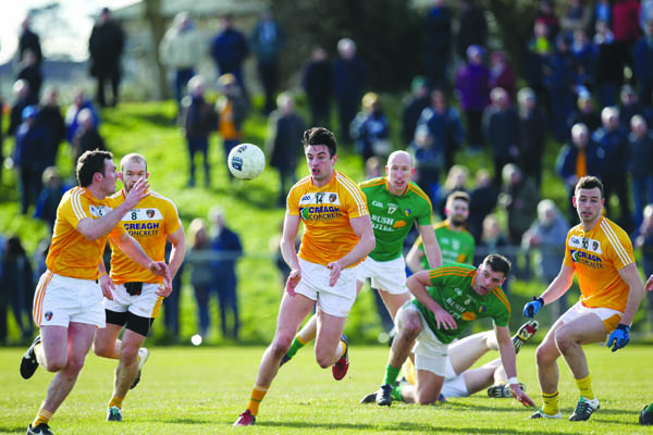 Antrim's Niall McKeever, pictured in action against Leitrim in 2016, has returned to the panel to bolster Lenny Harbinson's squad for the 2018 season. The Saffrons open their Division Four campaign against the Connacht side this Sunday afternoon at Corrigan Park