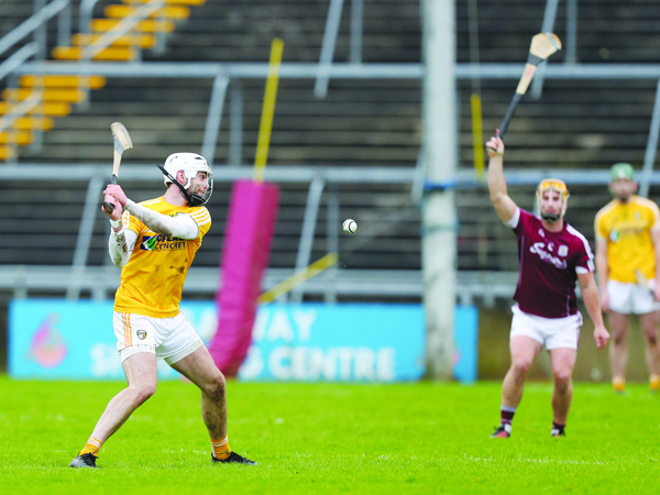 Antrim's Neil McManus, pictured in action during last Sunday's NHL defeat to Galway in Pearse Stadium, is hoping the Saffrons can build on their positive start to the campaign when they host Dublin at Corrigan Park on Sunday afternoon