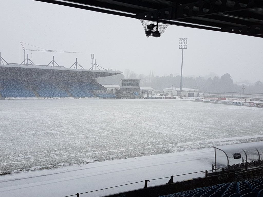 The scene at Ballymena Showgrounds on Friday morning