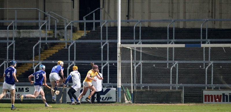 Eoghan Campbell bags Antrim's first goal midway through the second half, but it wasn't enough to stop Laois claiming a five-point win on Saturday night in O'Moore Park