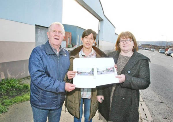 WORRIES: Cllr Mairead O'Donnell, Bernie McConnell, Short Strand Community Forum, and Patrick Devlin, St Matthew's Housing Association, with the Queen's report