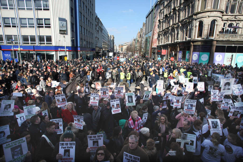 Thousands march on the streets of Belfast yesterday