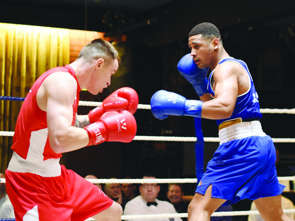 Caoimhin Hynes (blue) entered this year's Elite Championships at the unfamiliar weight of 81kg, but has reached his first ever final