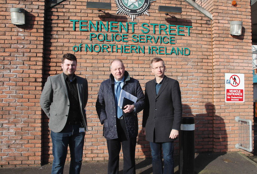 UNREST: William Humphrey MLA with Councillor Dale Pankhurst, left, and Alderman Brian Kingston prior to the meeting at Tennent Street PSNI station on Friday morning