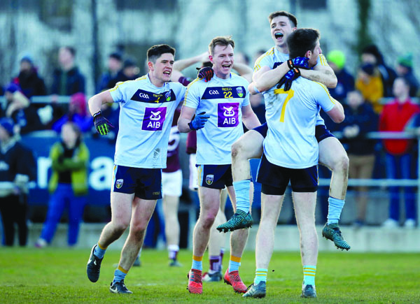Peter Healy, pictured above, second from left with Conor Mullally, Cillian O'Shea and Jimmy Feehan, celebrates UCD's Sigerson Cup win over NUIG last Saturday. The previous weekend, Healy was part of the Antrim side which suffered a disappointing home draw to Wicklow. The Saffrons will seek to bounce back when they face London in Ruislip on Sunday