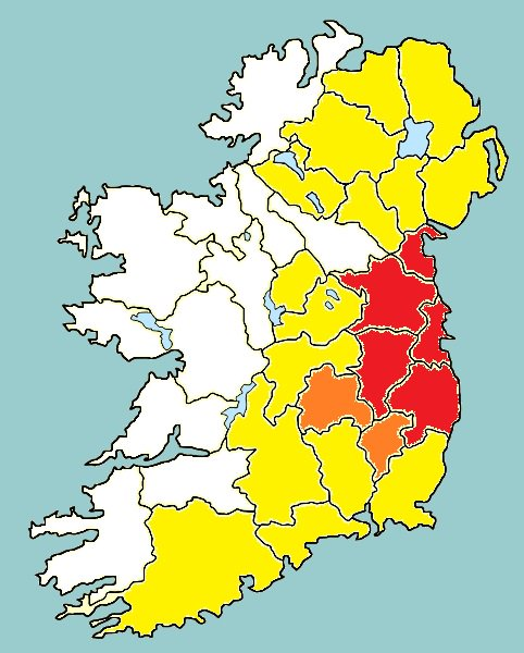 A yellow weather warning has been issued for the North