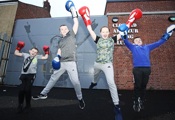 Enjoying the good weather and the start of spring at Clonard Amateuri Boxing Club are Ethan Andrews, Eoin Monaghan, Magy Muckian and James Doran