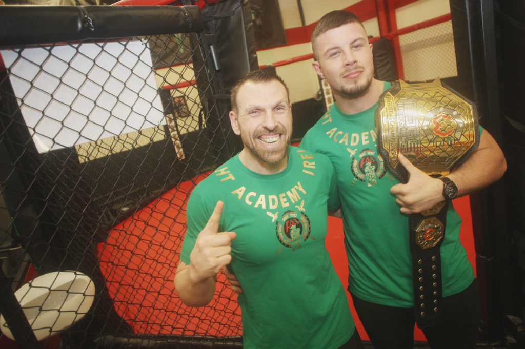 MMA fighter Karl Moore at the Fight Academy with the title belt he won earlier this month in Dublin. Fight Academy are also nominated for BOTW  Liam Shannon