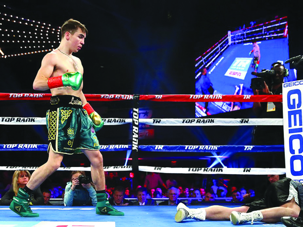 KNOCKDOWN: Michael Conlan knocked down David Berna twice during the fight