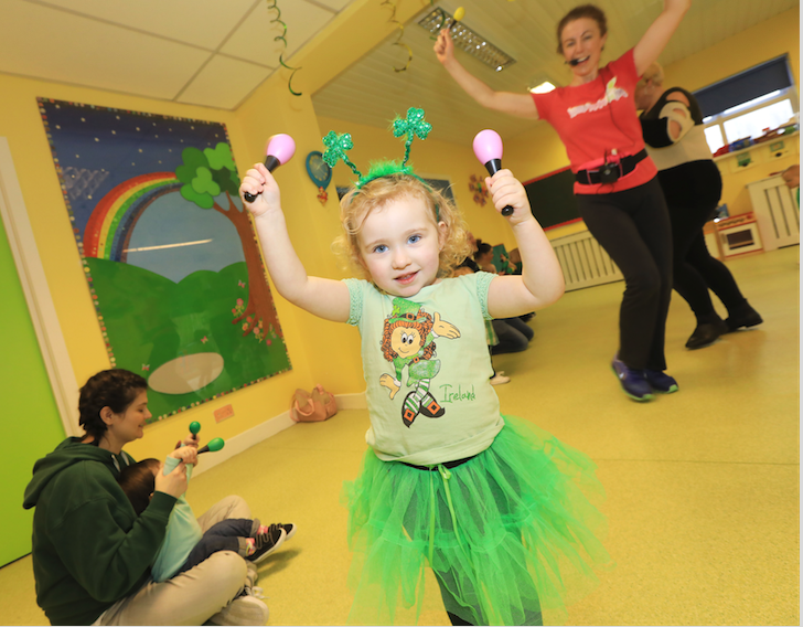 Little Orlaith Richmond enjoying the craic at the St Luke's Family Centre St Patrick's Day party