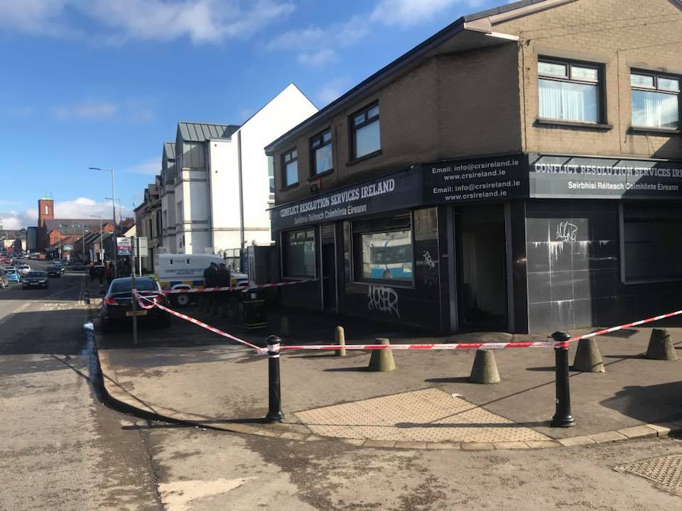 ATTACK: Police believe a petrol bomb type device was thrown into the doorway of the building