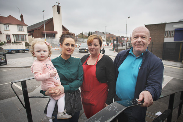 HIT HARD: Aisling Cahill of Little Plate, Shauna Harpenson, Smyth's Bakery, and Martin McCormick, MACS Frozen Foods, are feeling the pinch as the BRT roadworks continue to restrict access to their businesses