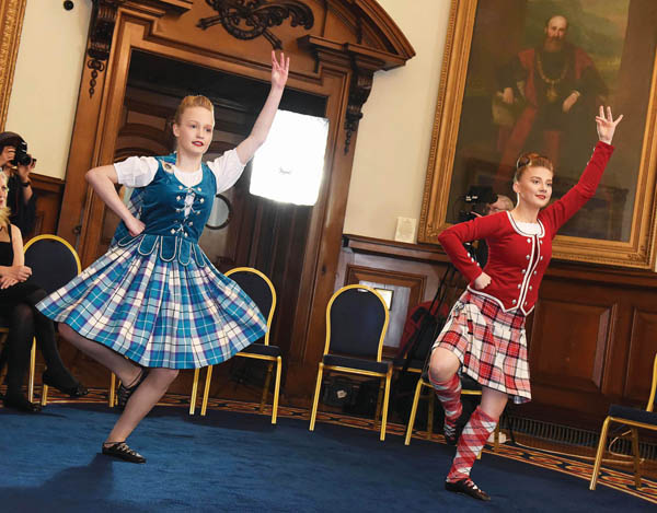 Rebekah Keery and Leah McIlwrath from the Michelle Johnston School of Highland Dance performed a sword dance at City Hall as part of the celebrations at City Hall of the 20th anniversary of the Good Friday Agreement