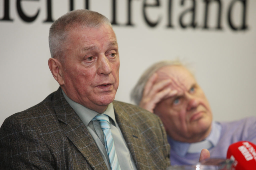 In the Linen Hall Library yesterday, UDA leader Jackie McDonald announces a clampdown on criminality by the UDA/UVF/RHC. Looking on is Reverend Norman Hamilton