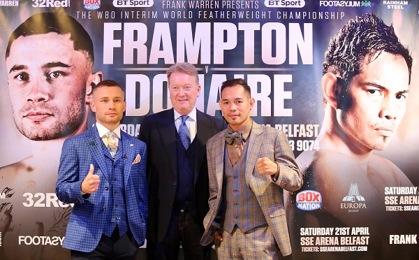 Carl Frampton and Nonito Donaire with promoter Frank Warren at yesterday's press conference at the Europa Hotel