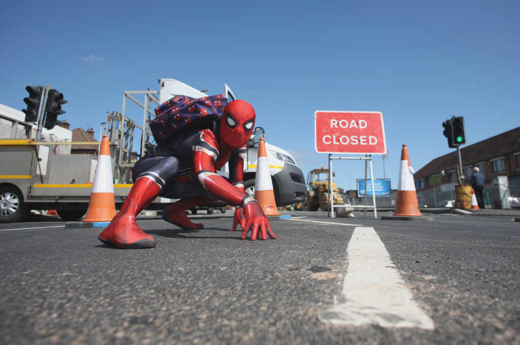 Even Spider-Man found it hard to negotiate the roadworks on the Andersonstown Road to get to the Biddy Duffy's fun day
