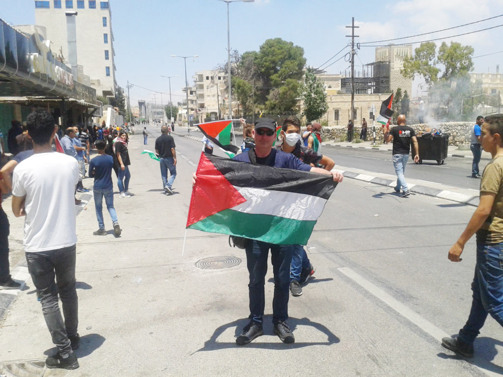 UP CLOSE: Fra Hughes at the protest near Bethlehem during a week of violence