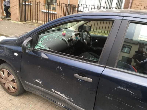 Youths jumped on cars and smashed windows during Saturday night's spree