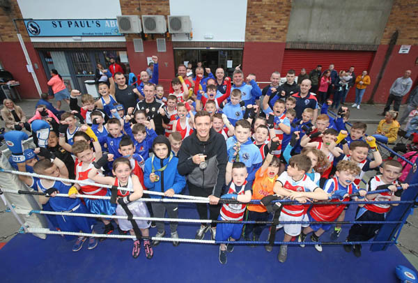 Commonwealth Games medallist Brendan Irvine with young boxers at St Paul's ABC also in attendance were kids and mentors from St Monica's Newry and Lisburn ABC