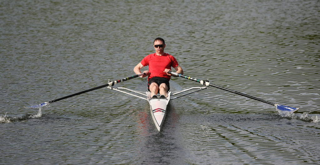 A rower going through his paces on the River Lagan