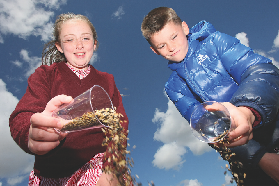 Holy Trinity Primary School pupils, Roise Kennedy and Barra Bellew get involved in the Wildlife Connections Project and plant wildflower seeds at the Whiterock playpark in conjunction with the Belfast Hills Partnership and the Upper Springfield Whiterock Integrated Partnership.