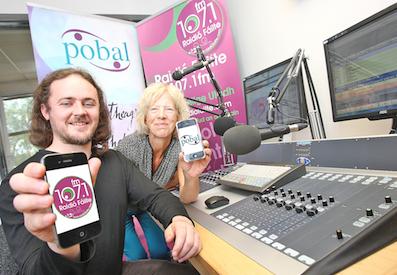 Donall Chaoimhin Mac Murchaidh of Raidio Failte with Janet Muller of Pobal launching the new Raidió Fáilte app