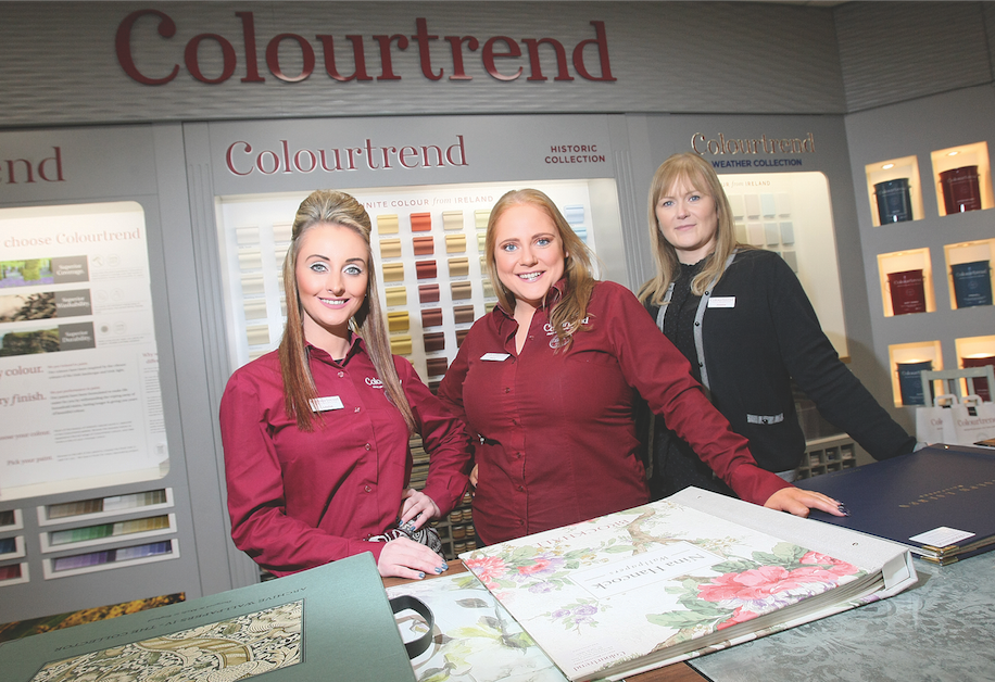 INVITE: The coffee morning in aid of The Alzheimer's Society will take place in Colourtrend, Boucher Road inside Harvey Norman from 11am until 1pm. Above, staff members Louise Hamilton, Mary Colligan and Joanne Moores.