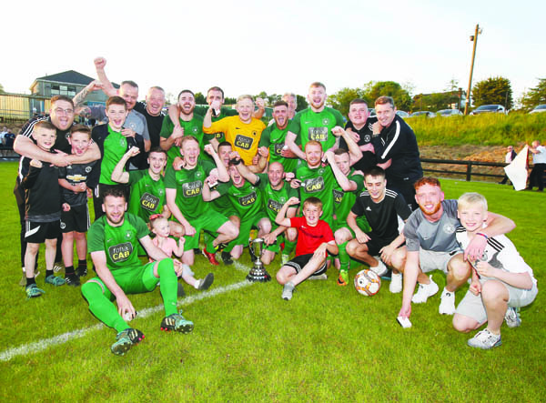 Crumlin Star celebrate after claiming the Clarence Cup on Tuesday night, which saw them complete the NAFL treble
