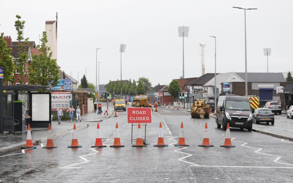NO WAY THROUGH: Two weekends of roadworks remain on the Andersonstown Road BRT scheme