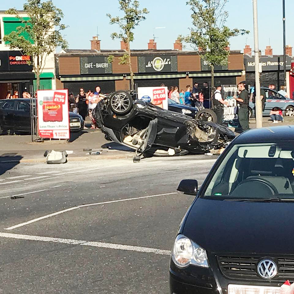 The scene at Ardoyne shops after a stolen car went out of control