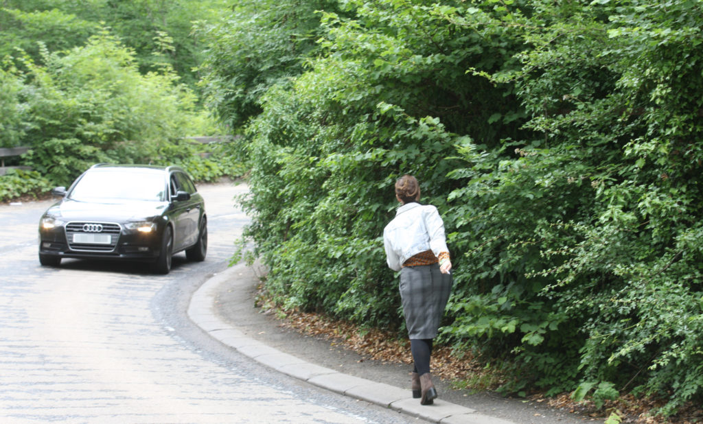 DANGER ZONE: Our Ciara Quinn negotiates the hairpin bend footpath near Colin Glen forest park