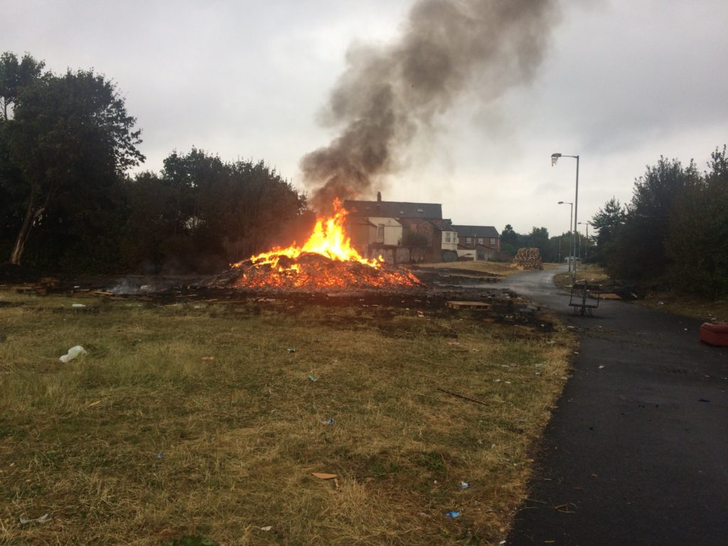 The bonfire at Bloomfield Walkway in East Belfast was set alight in the early hours of Wednesday morning