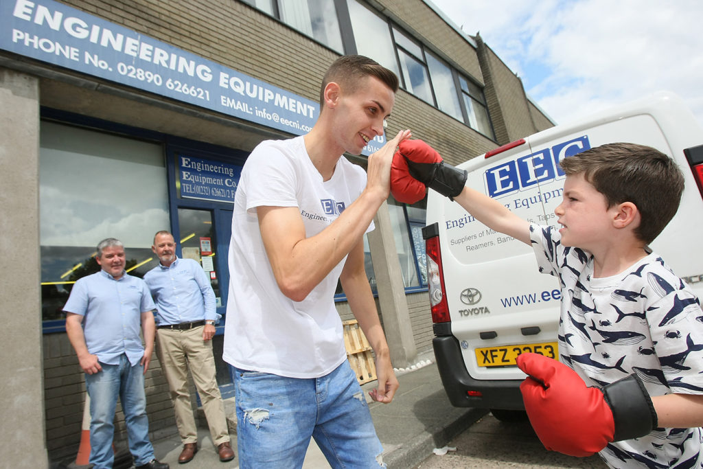 Conor McEllone meets rising boxing star Mathew Fitzsimons as local firm Engineering Equipment Co. announce a sponsorship deal for Mathew's upcoming fight