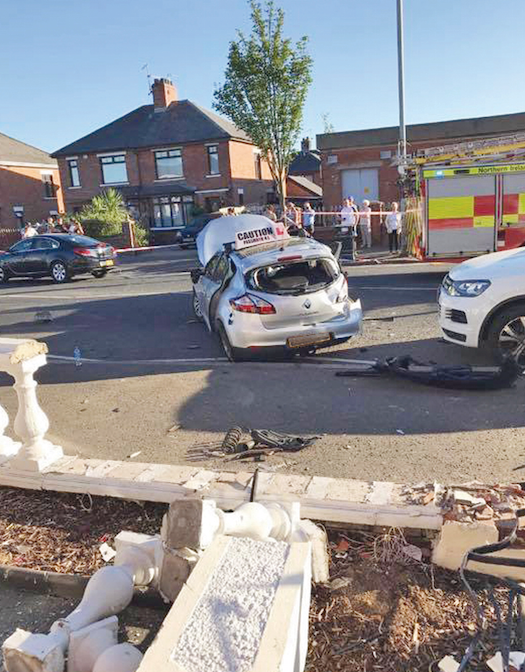 Several people, including a child, were treated in hospital following the crash involving a stolen audi