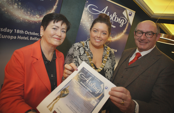 Lord Mayor Deirdre Hargey launching the Aisling Awards at the Balmoral with John D'Arcy, Director of the Open University, Premier Sponsors of Novembers Aislings, and Jackie D'Arcy