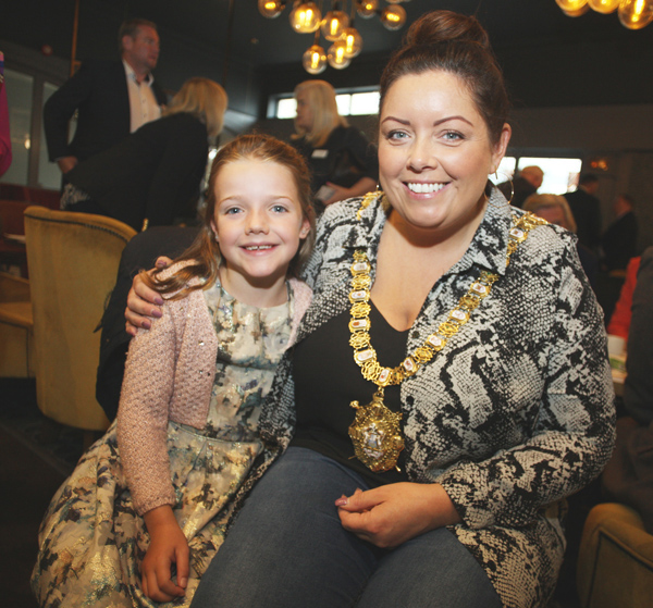 Who's that with Cara? Guest Cara Neeson at the launch of the 2018 Aisling Awards in the Balmoral Hotel with Lord Mayor and keynote speaker Deirdre Hargey