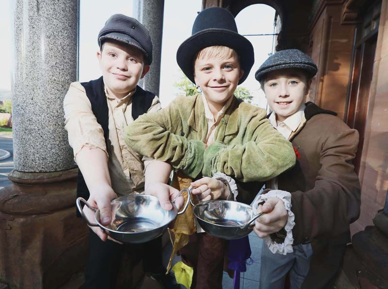 Darragh Maguire, Aoife Rafferty and Luke Howarth in rehearsals for the Ardoyne and Marrowbone Community Festival production of Oliver, which premieres tonight!