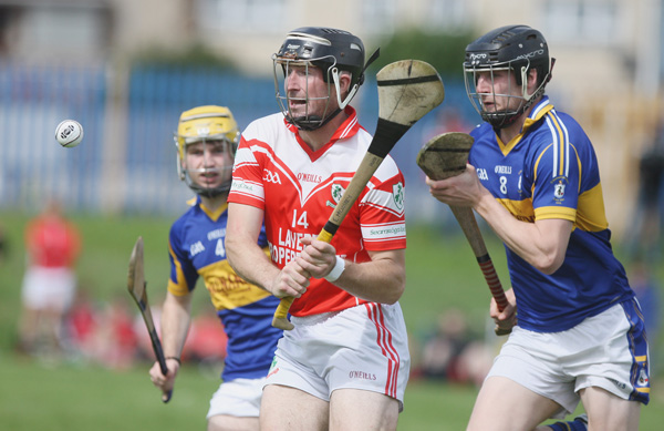 Loughgiel's Eddie McCloskey gets his shot away at Rossa Park on Saturday