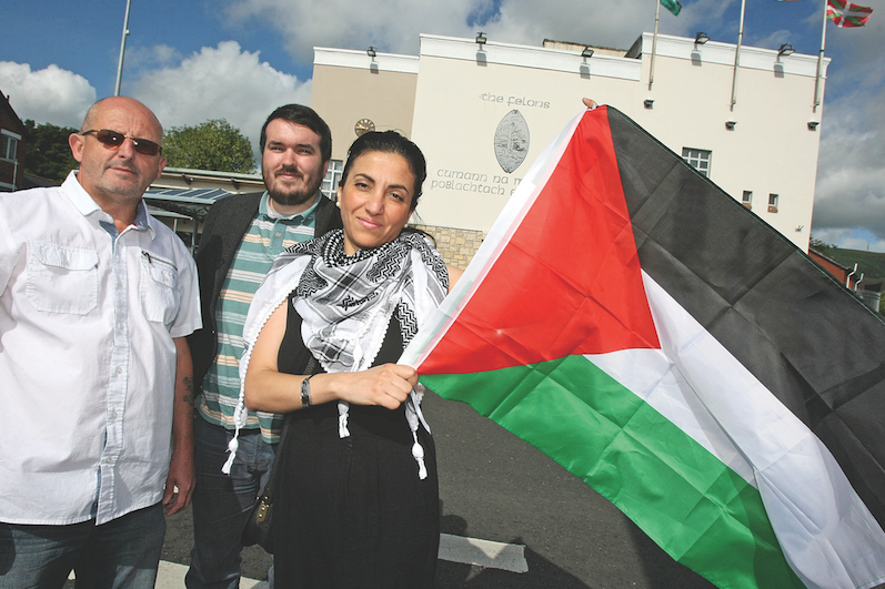 Tommy Rocks, secretary of the Felons, James Quigley of Belfats Action for Palestine and Ireland Palestine Solidarity Campaign along with Riham Abdulkarim, are raising funds for Children at the Felons next week