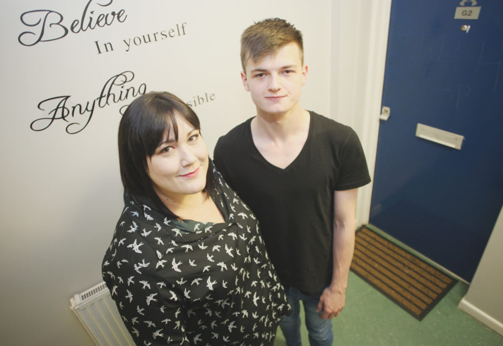 TOGETHER:Christina Howarth from The Simon Community with service user Jason Clarke