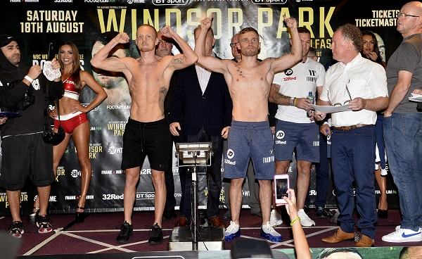 Carl Frampton and Luke Jackson have both made the featherweight limit ahead of their Windsor Park showdown tomorrow night  Mandatory Credit: Stephen Hamilton -Presseye