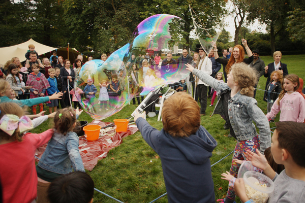 Bubbles in the crips air on Sunday at the Autumn Fair in Botanic Gardens