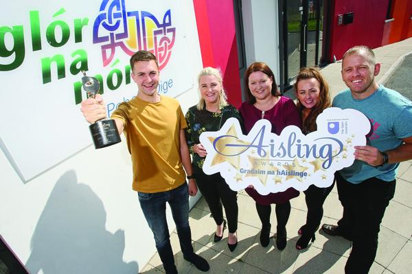 START NOMINATING: Conchur Ó Muadaigh (Glór na Móna), Connla McCann (Aisling Events), Edel Ní Chorrain (Foras na Gaeilge), Bronagh Fusco (Glór na Móna) and Feargal Mac Ionnrachtaigh (Glór na Móna). Glór na Móna won last year's Irish Language Aisling Award