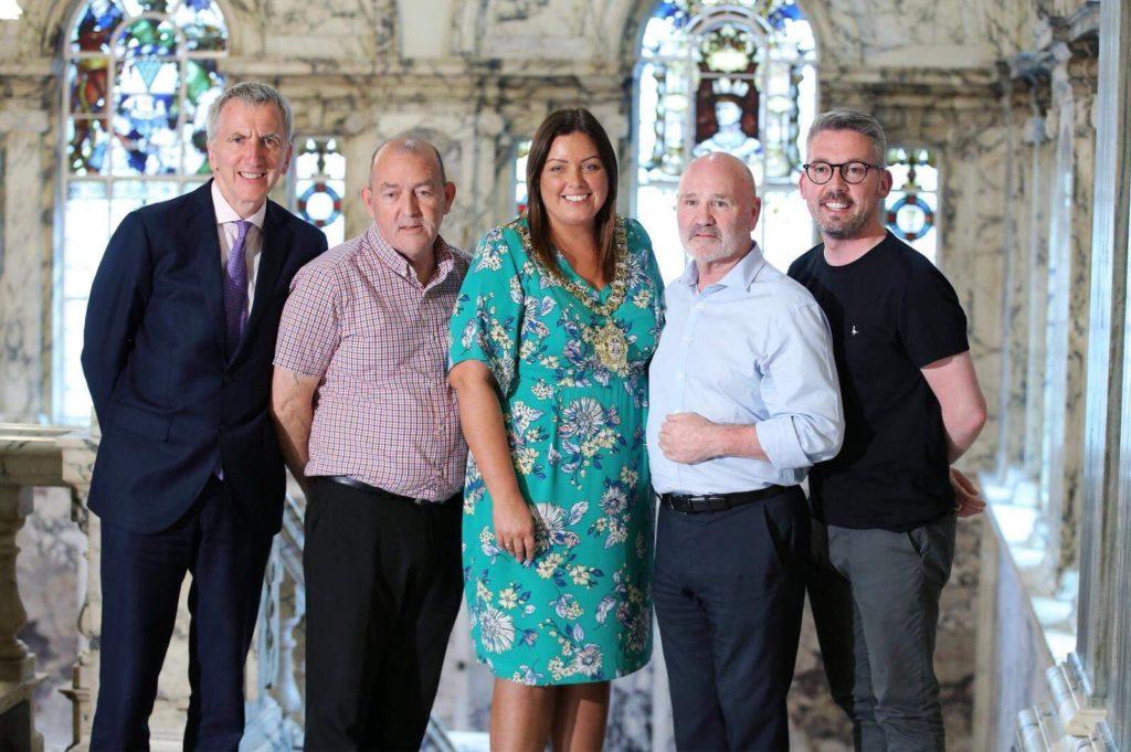 Lord Mayor of Belfast Deirdre Hargey with Sinn Féin's Máirtín Ó Muilleoir MLA, Cllr Arder Carson, Alex Maskey MLA and Seanadóir Niall Ó Donnghaile
