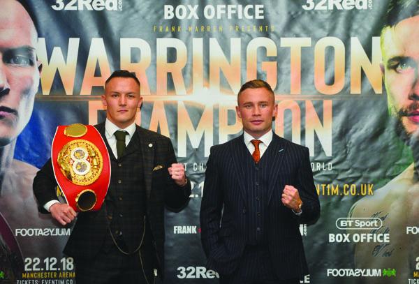 IBF featherweight champion, Josh Warrington and Carl Frampton pose for the cameras at the Clayton Hotel yesterday at a press conference ahead of their showdown at the Manchester Arena on December 22