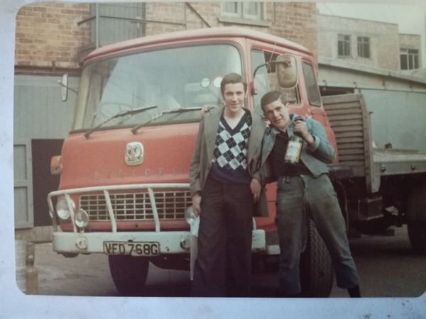 FRIENDS: A photo of Paul McDonald with Gerard 'Coke' Grogan, right, beside the Bedford TK lorry, driven by Frank Tierney, in the yard of Casey's Bottling Plant, taken just months before the shooting