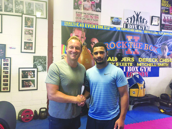Caoimhin Agyarko-Hynes with Francis Warren from Queensbury Promotions who the West Belfast man has signed a promotional deal with ahead of his professional debut in Essex this Saturday on the BT Sport bill topped by the British welterweight title fight between Gary Corcoran and Johnny Garton